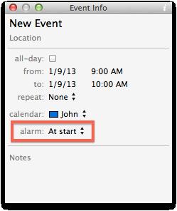 info panel alarm