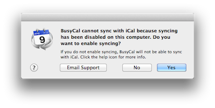 BusyCal iSync Disabled