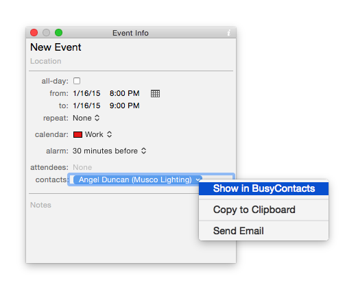 show in busycontacts