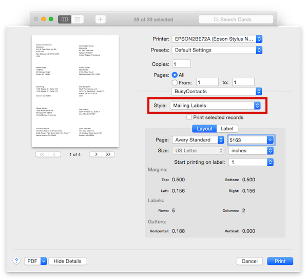 BusyContacts Mac - Printing Envelopes and Mailing Labels