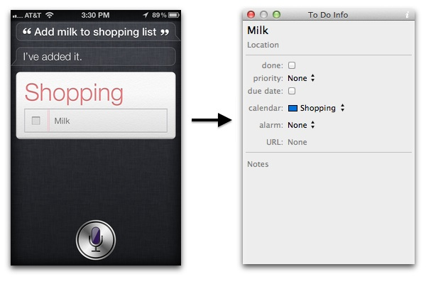 Siri Shopping Item