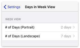 Days in Week View