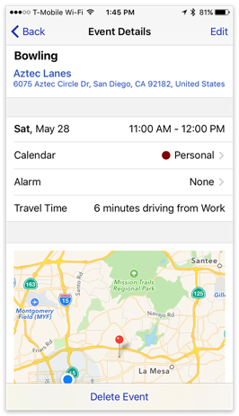 BusyCal iOS - Maps & Travel Time on