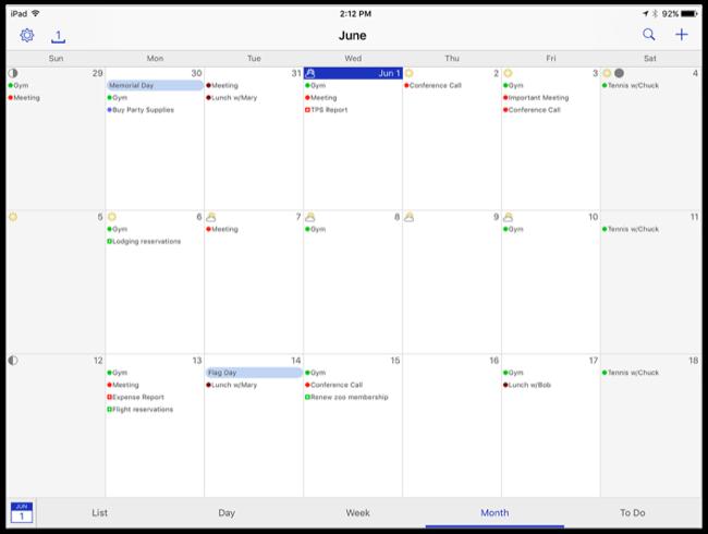 Month view, iPad, landscape
