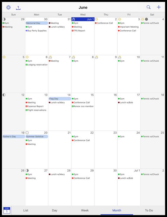 Month view, iPad, portrait