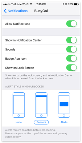 Notifications Settings for BusyCal