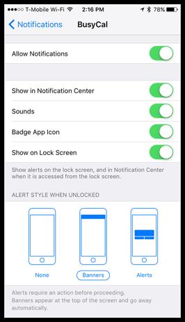 BusyCal iOS - Alarms