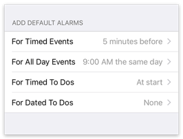 Default Alarms settings
