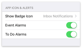 App Icon and Alerts Settings