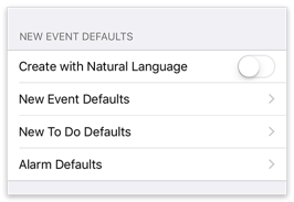 New Event Defaults settings