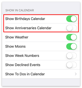 Show birthdays and anniversaries