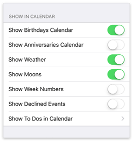 Show in Calendar settings
