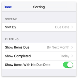 To Do List sorting options
