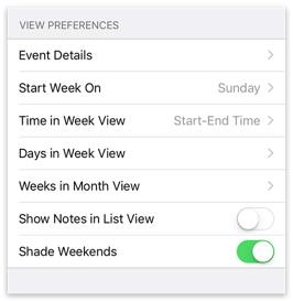 View Preferences settings