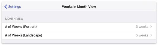 Weeks in Month View