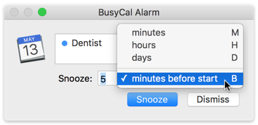 BusyCal Alarm keyboard shortcut