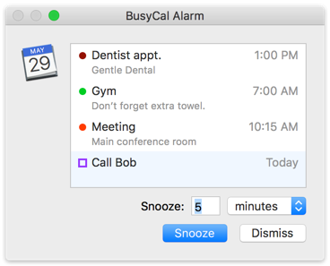 BusyCal Alarm Window