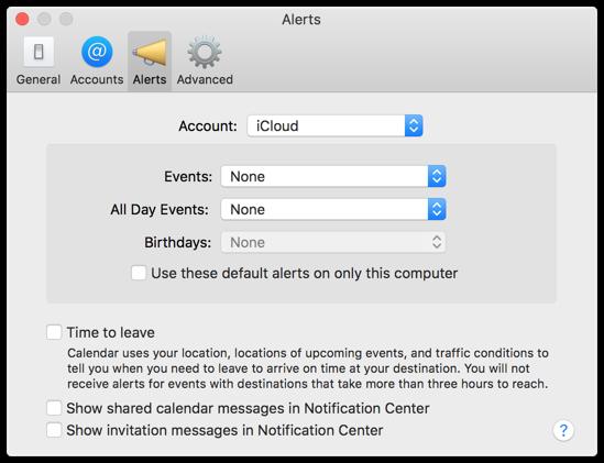 Calendar Preferences - Alerts