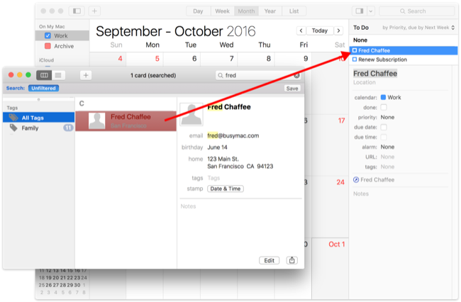Add a BusyContacts contact to a to do