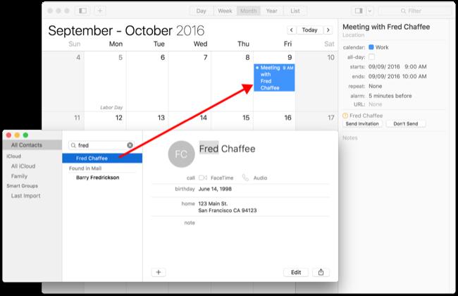 Add a contact to a calendar