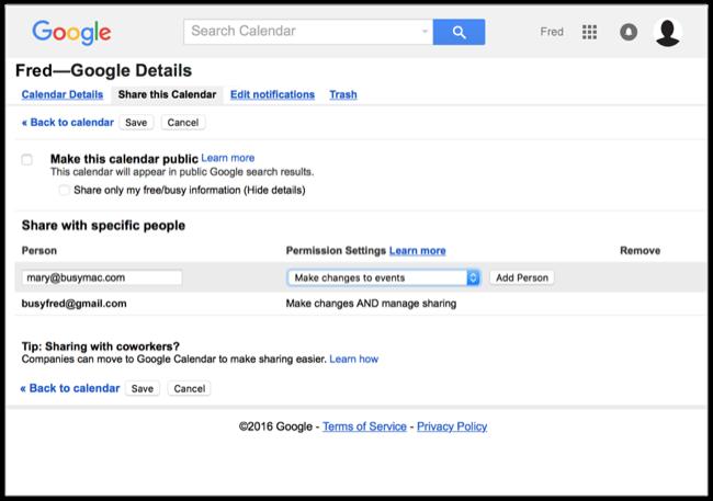 Google Calendar details