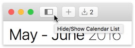 Hide/Show Calendar List button