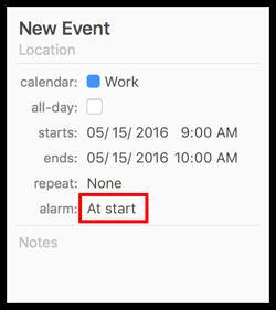 Alarm at start