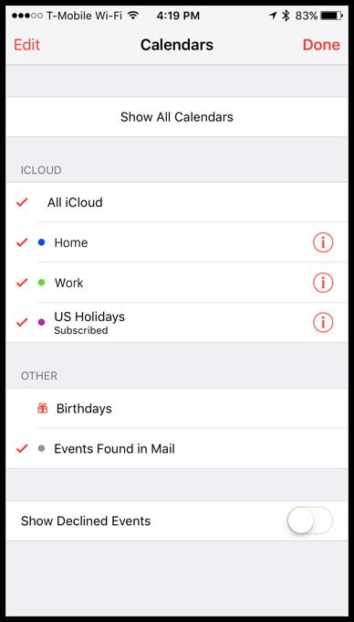 iOS Calendars list