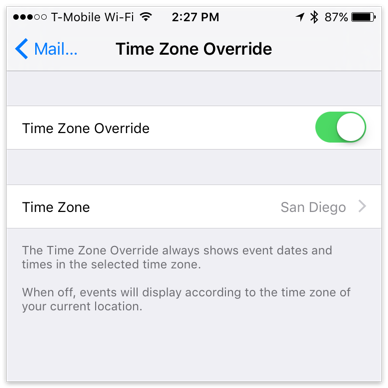 Time Zone Override in iOS