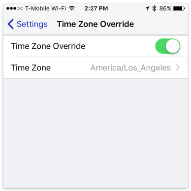 Time Zone Override in BusyCal for iOS
