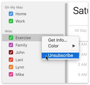 Unsubscribe from LAN calendar