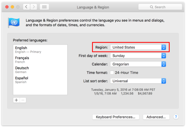 Language & Region Preferences