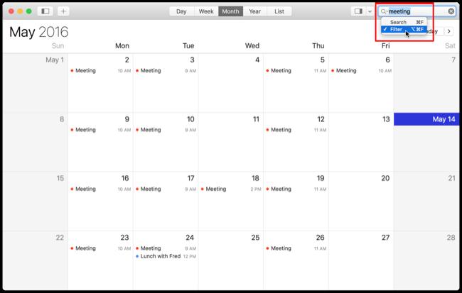 Filtered Calendar