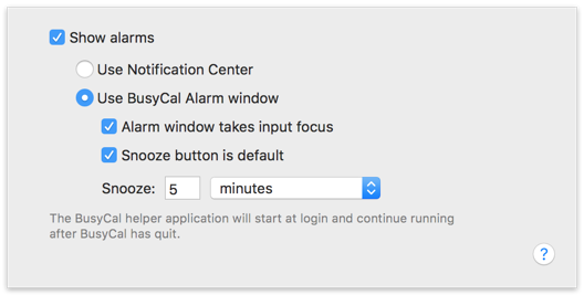Enable BusyCal Alarm Window