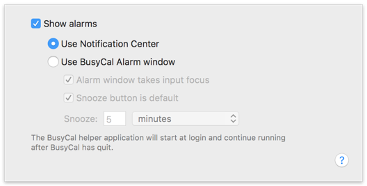 Alarm Preferences - Notification Center
