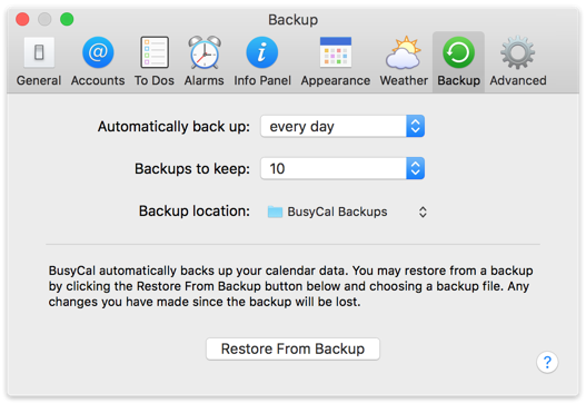 BusyCal Mac - Backing Up and Restoring