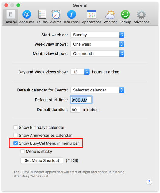 Show BusyCal Menu in menu bar preference