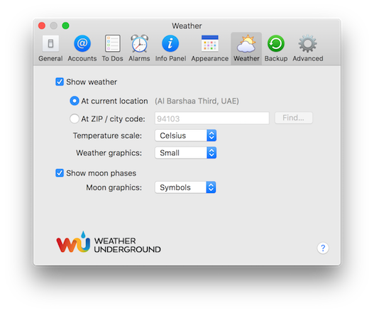 Weather Preference Pane