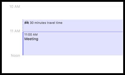 Travel Time Blocked on Calendar
