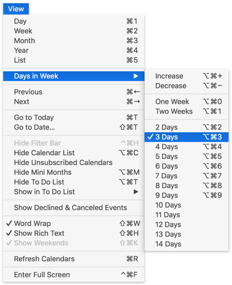 View Menu with Days in Week submenu