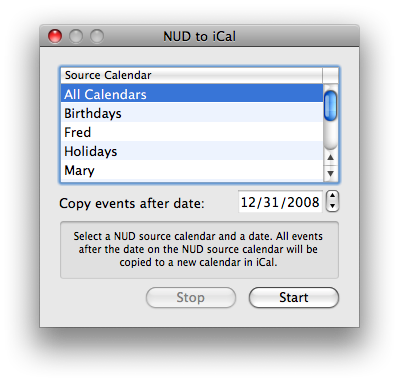 NUD to iCal
